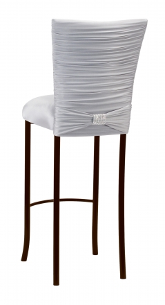 Chloe Silver Stretch Knit Barstool Cover with Rhinestone Accent Band and Cushion on Brown Legs (1)