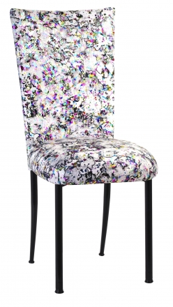 White Paint Splatter Chair Cover and Cushion on Black Legs (2)