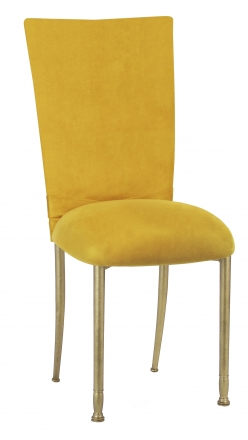 Canary Suede Chair Cover with Jewel Belt and Cushion on Gold Legs (2)