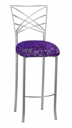 Silver Fanfare Barstool with Purple Paint Splatter Cushion (2)