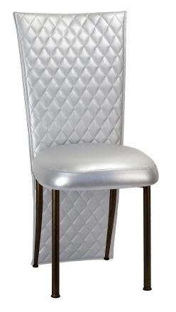 Silver Quilted Leatherette Jacked and Boxed Cushion on Brown Legs (2)