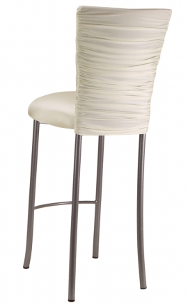 Chloe Ivory Stretch Knit Barstool Cover and Cushion on Silver Legs (1)