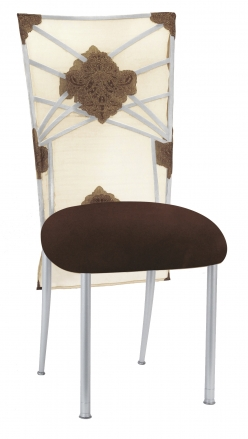 Silver Fanfare with Organza Medallion 3/4 Chair Cover and Chocolate Suede Cushion (2)
