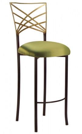 Two Tone Gold Fanfare Barstool with Lime Satin Cushion (2)