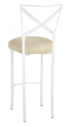 Simply X White Barstool with Parchment Linette Boxed Cushion (1)