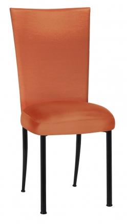 Orange Taffeta Chair Cover with Boxed Cushion on Black Legs (2)