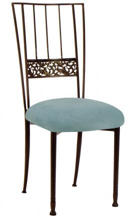 Mahogany Bella Fleur with Ice Blue Suede Cushion (2)