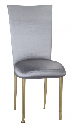 Charcoal Taffeta Chair Cover and Boxed Cushion on Gold Legs (2)