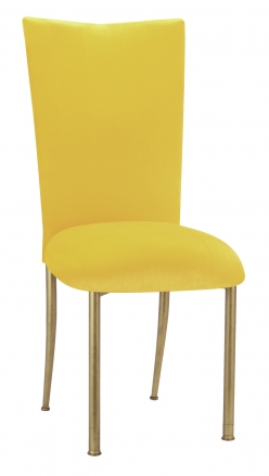 Sunshine Yellow Velvet Chair Cover and Cushion on Gold Legs (2)