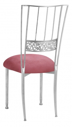 Silver Bella Fleur with Raspberry Suede Cushion (1)