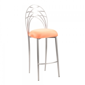 Silver Piazza Barstool with Tangerine Stretch Knit Cushion (2)