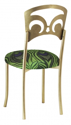 Gold Fleur de Lis with Green and Blue Peacock Stretch Knit Cushion (1)