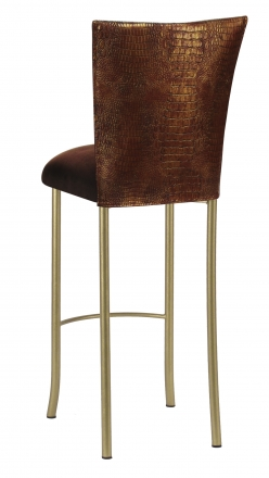 Bronze Croc Barstool Cover with Chocolate Suede Cushion on Gold Legs (1)