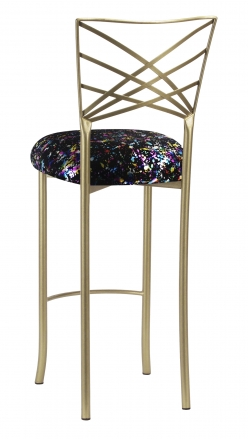 Gold Fanfare Barstool with Black Paint Splatter Knit Cushion (1)