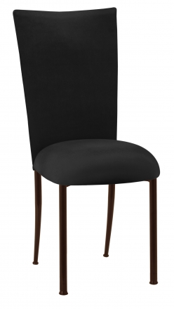 Black Velvet Chair Cover and Cushion on Brown Legs (2)