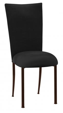 Black Velvet Chair Cover and Cushion on Brown Legs (2)