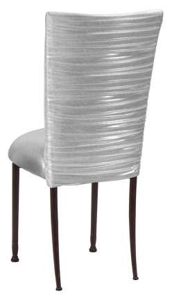 Chloe Metallic Silver on White Foil Chair Cover and Cushion on Mahogany Legs (1)