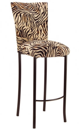 Zebra Stretch Knit Barstool Cover and Cushion on Brown Legs (2)