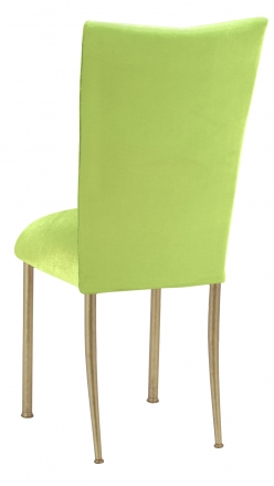 Lime Green Velvet Chair Cover and Cushion on Gold Legs (1)