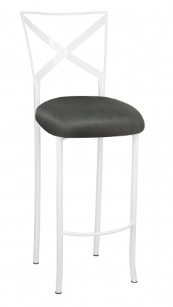 Simply X White Barstool with Charcoal Suede Cushion (2)