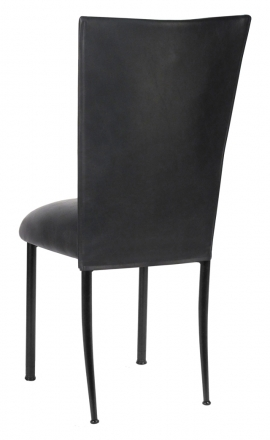 Black Leatherette Chair Cover and Cushion on Black Legs (1)