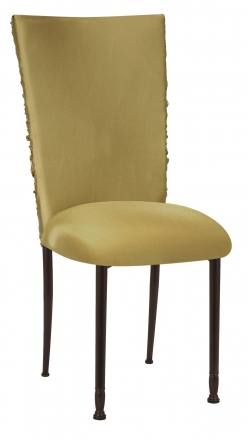 Gold Demure Chair Cover with Gold Stretch Knit Cushion on Mahogany Legs (2)