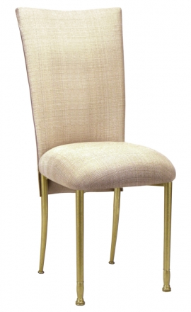 Parchment Linette Chair Cover and Cushion on Gold Legs (2)