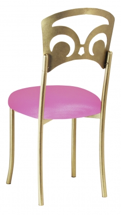 Gold Fleur de Lis with Pink Glitter Stretch Knit Cushion (1)