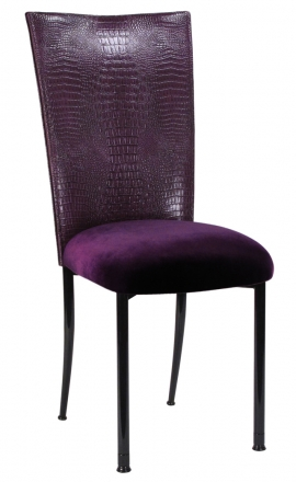 Purple Croc Chair Cover with Eggplant Velvet Cushion on Black Legs (2)