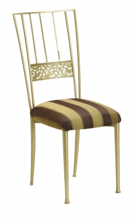 Gold Bella Fleur with Gold and Brown Stripe Cushion (2)