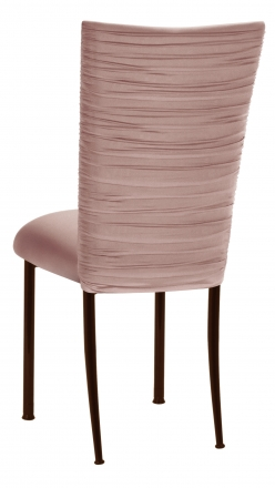 Chloe Blush Stretch Knit Chair Cover and Cushion on Brown Legs (1)