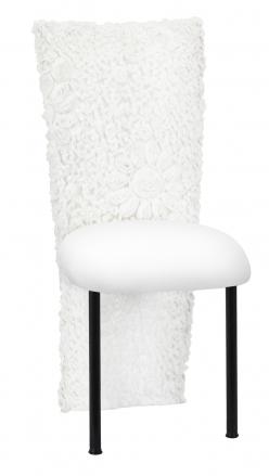 White Wedding Lace Jacket with White Stretch Knit Cushion on Black Legs (2)