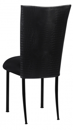 Matte Black Croc Chair Cover with Black Stretch Knit Cushion on Black Legs (1)