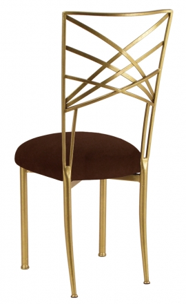 Gold Fanfare with Chocolate Suede Cushion Front (1)