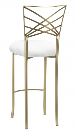 Gold Fanfare Barstool with White Knit Cushion (1)