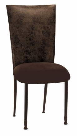 Durango Chocolate Leatherette with Chocolate Suede Cushion on Mahogany Legs (2)