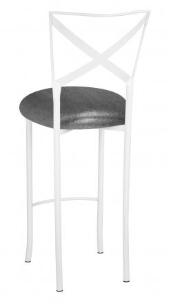 Simply X White Barstool with Gunmetal Knit Cushion (1)