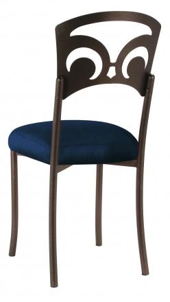 Bronze Fleur de Lis with Midnight Blue Taffeta Boxed Cushion (1)