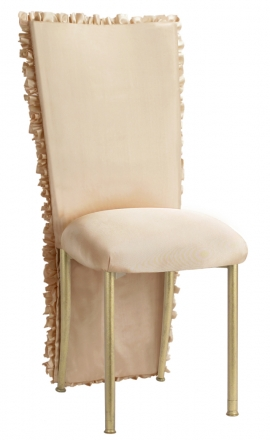 Champagne Ruffle Chair Cover with Champagne Bengaline Cushion on Gold Legs (2)