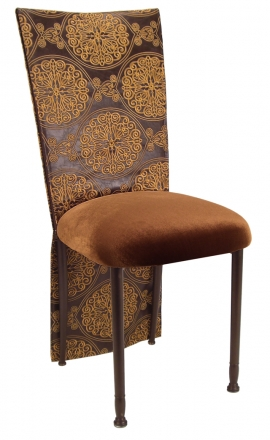 Brown and Gold Crest Chair Cover with Chocolate Suede Cushion on Brown Legs (2)