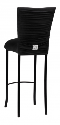 Chloe Black Stretch Knit Barstool Cover with Rhinestone Accent Band and Cushion on Black Legs (1)
