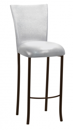 Metallic Silver Stretch Knit Barstool Cover and Cushion on Brown Legs (2)