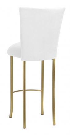 White Suede Barstool Cover and Cushion on Gold Legs (1)