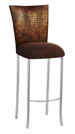 Bronze Croc Barstool Cover with Chocolate Suede Cushion on Silver Legs (2)