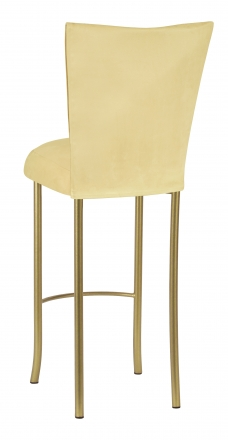 Buttercup Suede Barstool Cover and Cushion on Gold Legs (1)