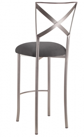 Simply X Barstool with Charcoal Suede Cushion (1)