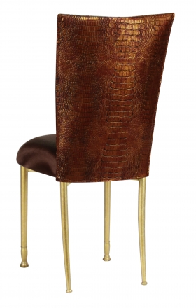 Bronze Croc Chair Cover with Chocolate Stretch Knit Cushion on Gold Legs (1)