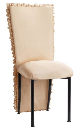 Champagne Ruffle Chair Cover with Champagne Bengaline Cushion on Black Legs (2)