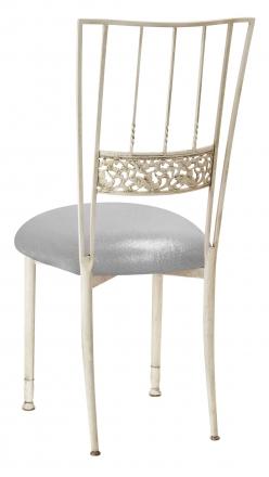 Ivory Bella Fleur with Metallic Silver Stretch Knit Cushion (1)
