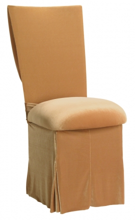 Gold Velvet Cowl Neck Chair Cover and Cushion and Skirt (2)